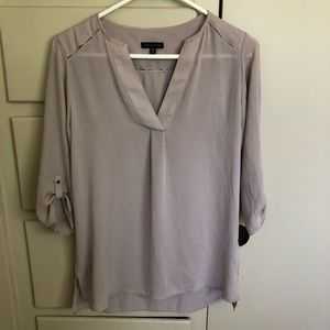 Beige V-Neck Blouse
